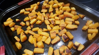 Butternut squash, roasted. Adds a sweetness to the dish